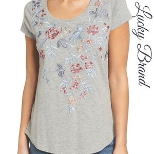 Lucky Brand Heathered Grey Embroidered Floral Tee